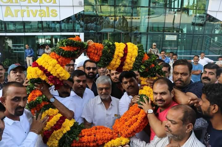 महासचिव डॉ सी.पी. जोशी का कांग्रेस कार्यकर्ताओ ने किया गर्मजोशी से स्वागत