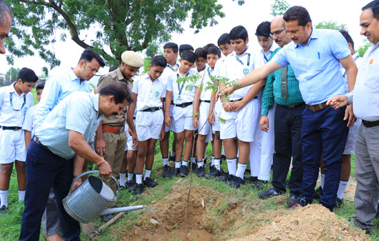 डीपीएस उदयपुर में पर्यावरण संरक्षण हेतु वृक्षारोपण