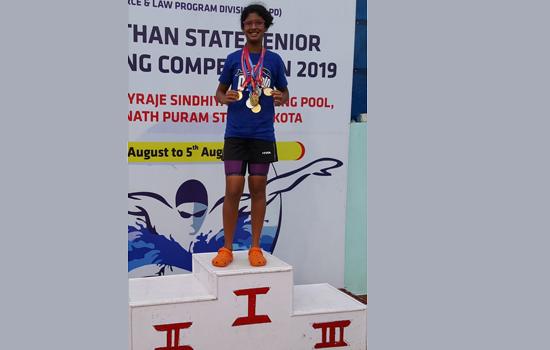डीपीएस, उदयपुर की इशिता ने राज्य तैराकी में  जीते चार स्वर्ण पदक