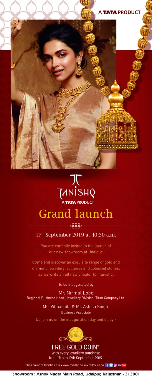 TANISHQ, India's MOST trusted Jeweller opens its new showroom aT udaipur!