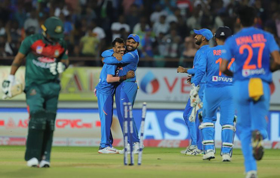 दूसरे ट्वेंटी-ट्वेटी क्रिकेट मैच में बांग्लादेश ने भारत के सामने जीत के लिए 154 रन का लक्ष्य रखा