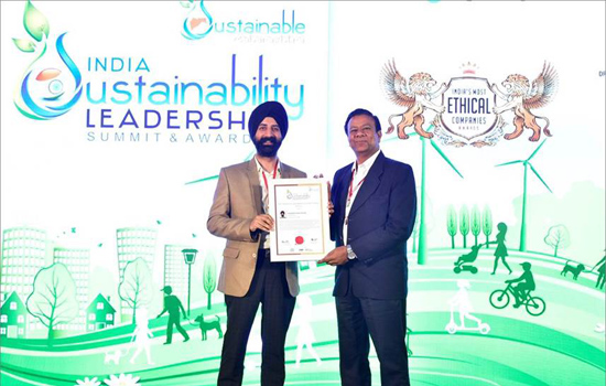 MR. RAJINDER SINGH AHUJA CONFERRED WITH  'MOST INFLUENTIAL SUSTAINABILITY LEADERS OF INDIA'