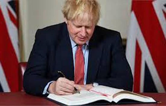 ब्रिटेन के प्रधानमंत्री बोरिस जॉनसन ने ब्रेक्जिट समझौते पर हस्ताक्षर किए