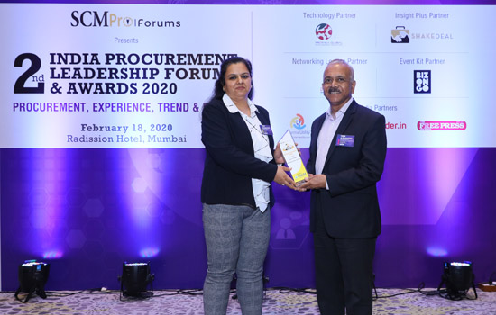 हिंदुस्तान जिंक इण्डिया प्रोक्योरमेंट लीडरशिप फोरम एंड अवार्ड्स २०२० से सम्मानित