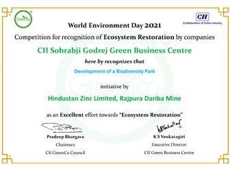 सीआईआई द्वारा विश्व पर्यावरण दिवस पर आयोजित प्रतियोगिता में  हिंदुस्तान जिंक ने जीते चार पुरस्कार