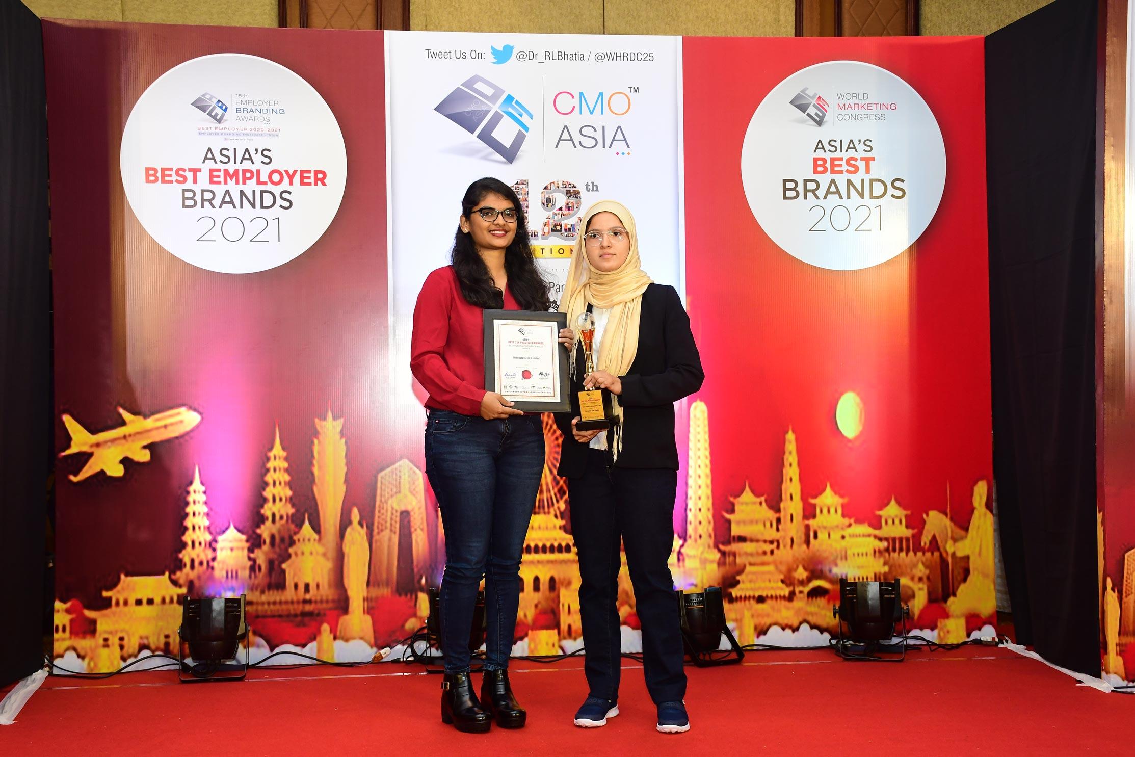 हिंदुस्तान जिंक को बेस्ट ऑवरऑल एक्सीलेंस इन सीएसआर श्रेणी में सीएमओ एशिया का बेस्ट सीएसआर प्रेक्टिस अवार्ड