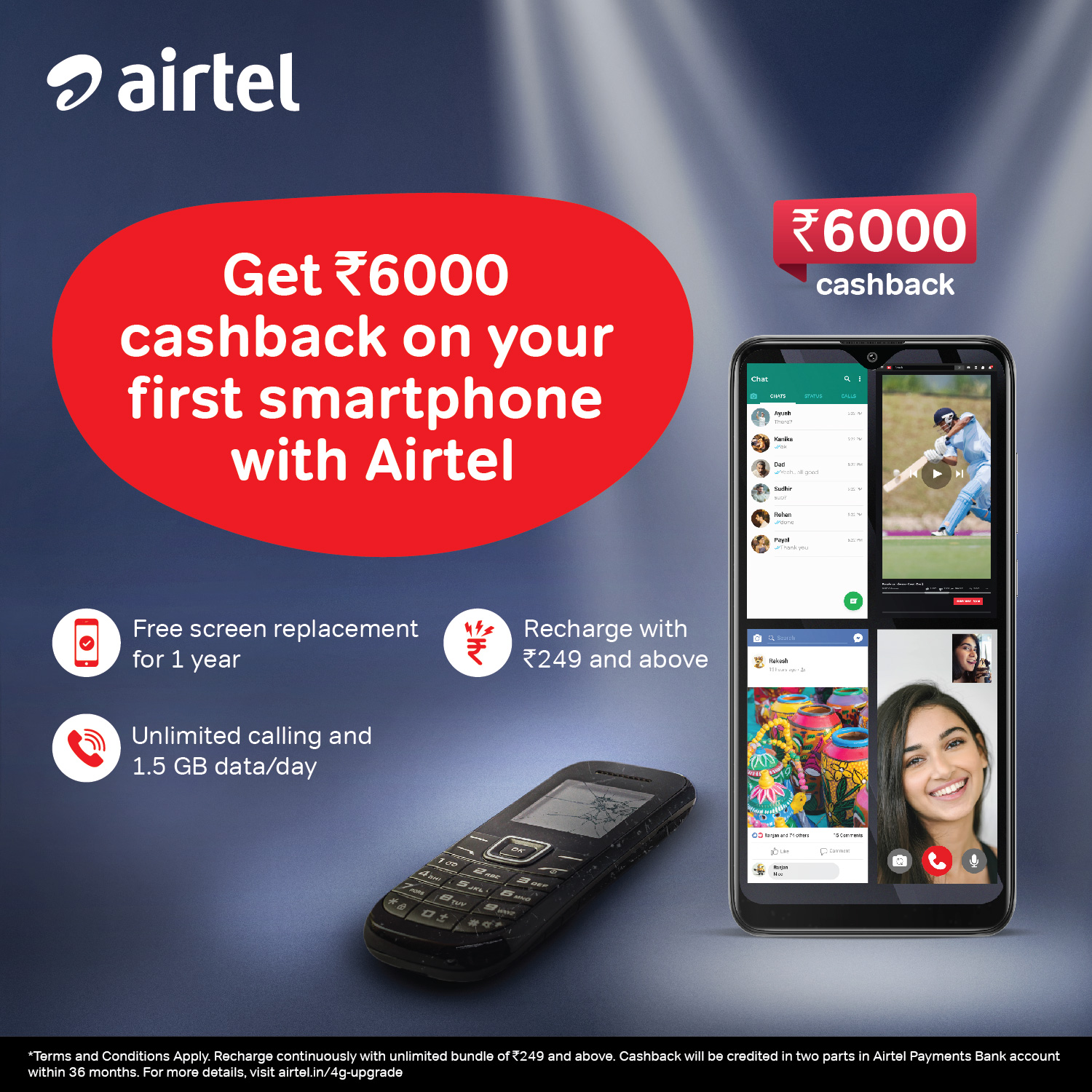 Airtel announces Rs 6000 cashback on purchase of smartphones from leading brands